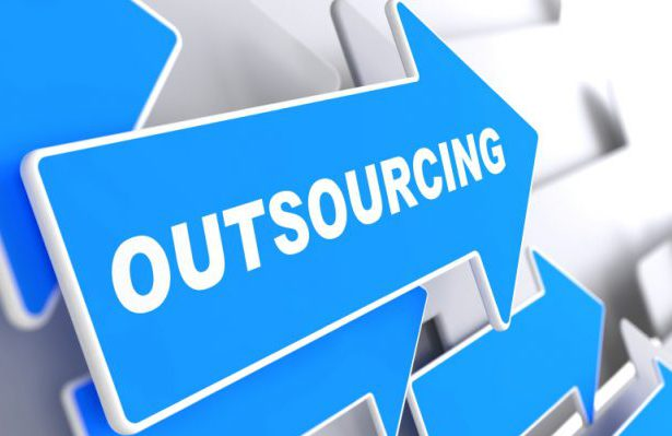 "Outsourcing - Business Background. Blue Arrow with ""Outsourcing"" Slogan on a Grey Background. 3D Render."