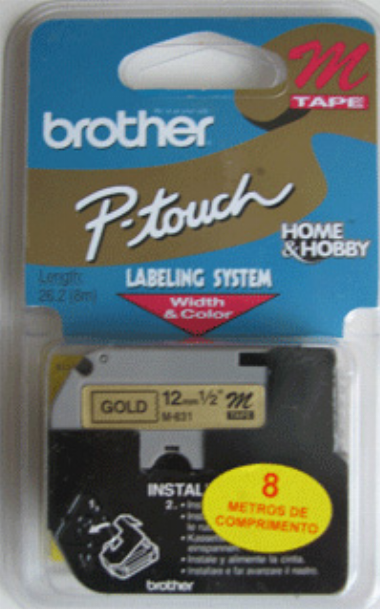 Fita para Rotulador M831 12mm Preto sobre Dourado - Brother