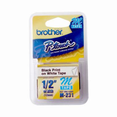 Fita p/ Rotulador M231 Preto sobre Branco - Brother