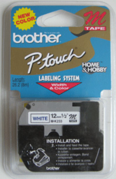 Fita p/ Rotulador 12mm MK233 Azul sobre Branco - Brother