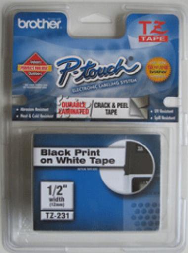 Fita p/ Rotulador TZ231 12mm Preto sobre Branco - Brother