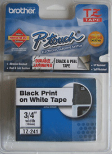 Fita p/ Rotulador TZ241 18mm Preto sobre Branco - Brother
