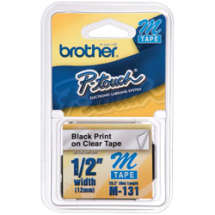 Fita p/ Rotulador 12mm M131 Preto sobre Transparente - Brother