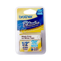 Fita p/ Rotulador M231 Preto sobre Branco - Brother